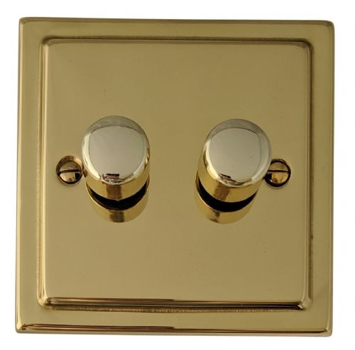 G&H TB12 Trimline Plate Polished Brass 2 Gang 1 or 2 Way 40-400W Dimmer Switch